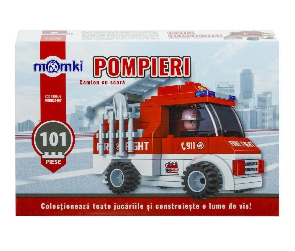 Momki - Pompieri, Camion cu scara, 101 piese
