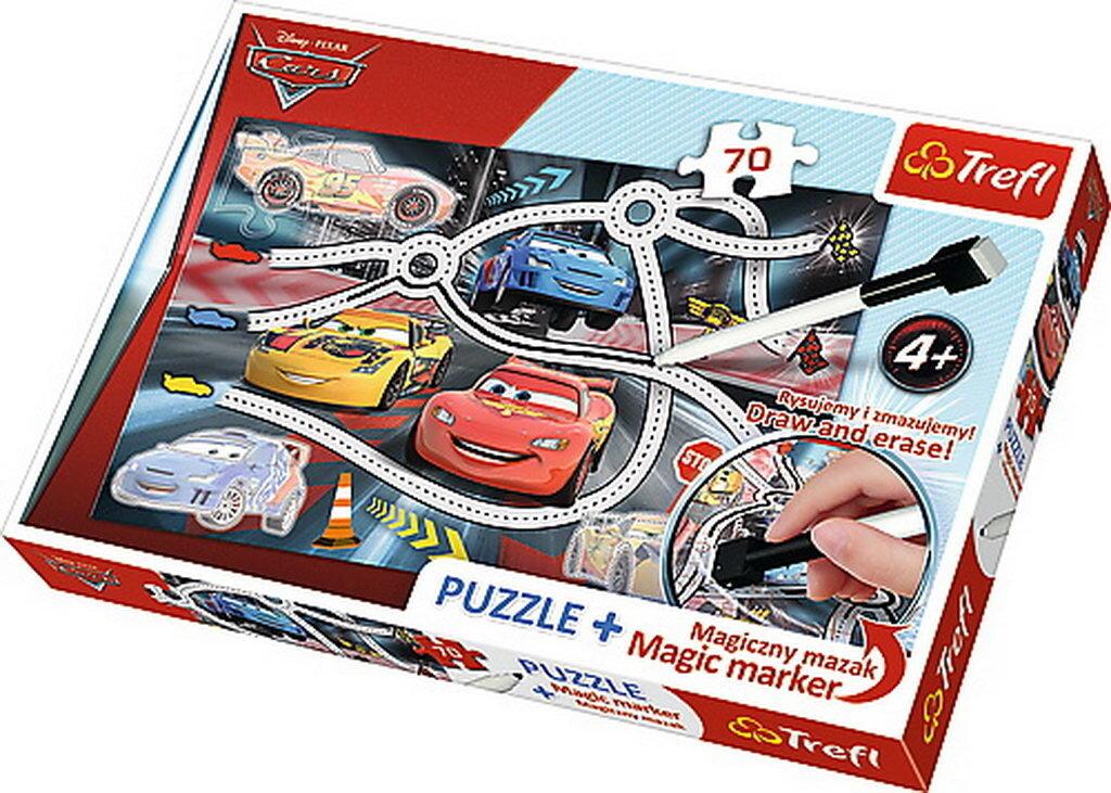 Puzzle Cars 2 - cu marker magic, 70 piese