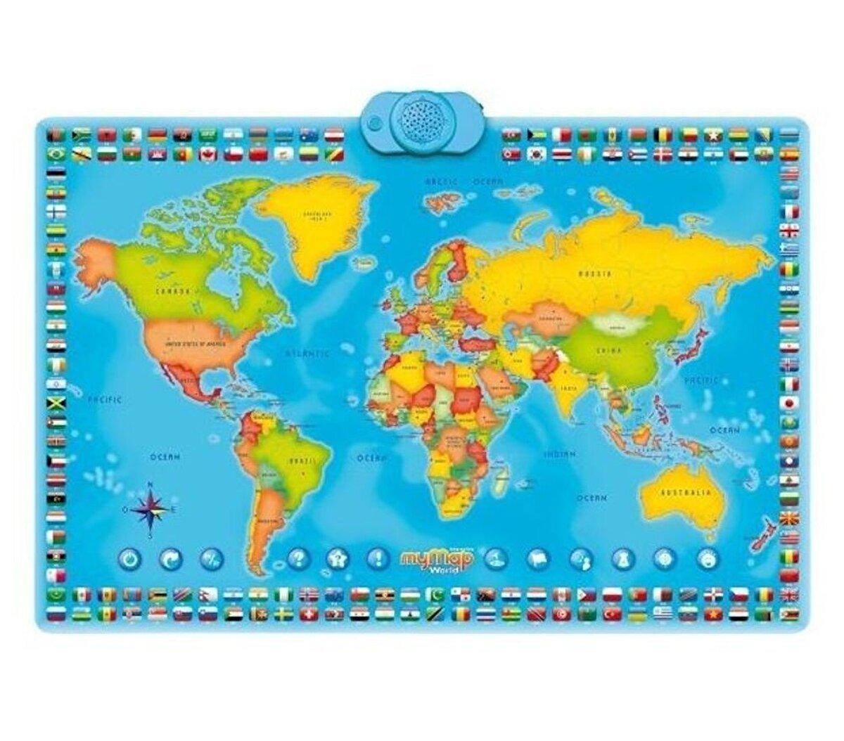 Harta interactiva a lumii, bilingva