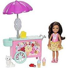 Barbie Papusa Barbie Chelsea si carucior de inghetata
