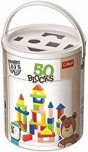 Trefl Set constructie 50 de cuburi colorate din lemn