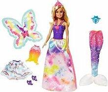 Barbie Papusa Barbie Dreamtopia cu 3 costume