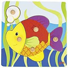 Goki Puzzle incastru cu butoane - Peste, 5 piese