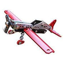 Spin Master Meccano - Set constructie metalic 2 in 1 Avion pentru acrobatii, 78 piese