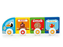 Scratch Set Masinute magnetice din lemn - Pizza, Peste, Express