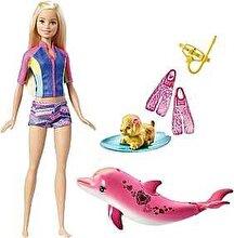 Barbie Papusa Barbie la plaja, cu delfin si accesorii