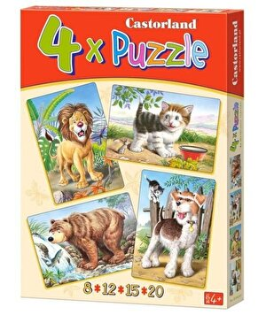 Puzzle 4 in 1 - Animale, 55 piese