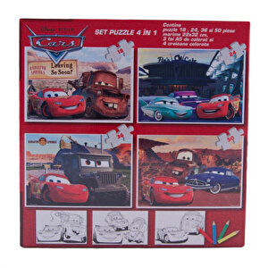 Puzzle 4 in 1 - Cars, 128 piese