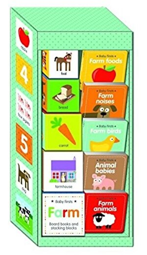 Baby First Farm Board Books and Stacking Blocks Jumbo Early Learning Boxed Set