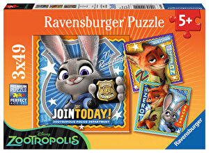 Puzzle 3 in 1 - Zootopia, 147 piese