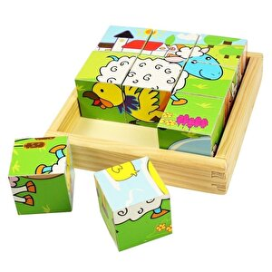 Puzzle cuburi - Animale domestice, 9 piese