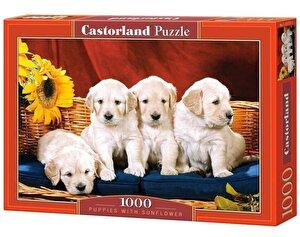 Puzzle Catelusi cu floarea-soarelui, 1000 piese