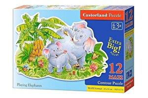 Puzzle maxi Elefanti jucausi, 12 piese