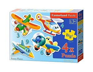Puzzle 4 in 1 - Avioane, 22 piese