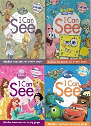 Disney I Can See Collection 4 Books Set Princess, Fairies, Spongebob, Pixar