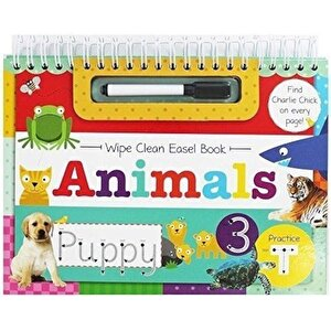 Wipe Clean Easel Book With Pen - Animals