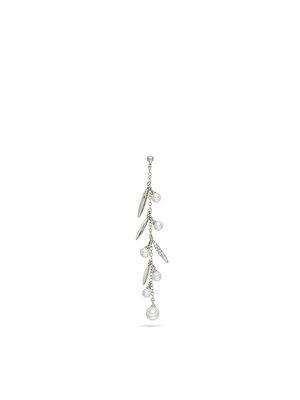 Earring Brass Zirconia Organic pearls