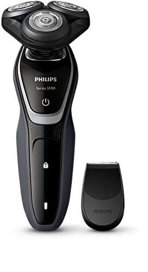 Aparat de ras Philips S5110/06, Lame Multiprecision, LED, Acumulator, 3 capete, Rotire in 5 directii, Trimmer, Negru