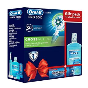 Periuta electrica Oral B Pro500 Cross Action+Apa de gura Oral B Pro-Expert 500ml+Ata dentara Satin Floss 25m+Pasta de dinti Blend-a-Med Pro-Expert 100ml