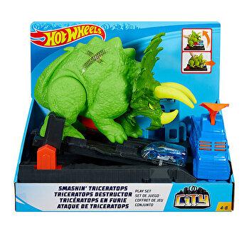 Hot Wheels City – Triceratops, dinozaurul furios de la Hot Wheels