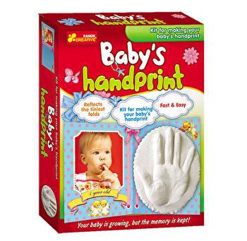 Kit pentru amintiri bebe – mulaj si amprenta din ghips pentru manuta de baietel de la Ranok Creative