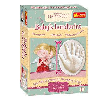 Kit pentru amintiri bebe - mulaj si amprenta din ghips pentru manuta de fetita