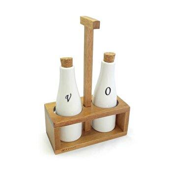 Set recipiente pentru ulei si otet Kassel, 3 piese, suport lemn de salcam, recipiente portelan, 93576, Alb/Maro