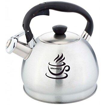Ceainic cu fluier Klausberg, inox, 1,8 litri, inductie, KB-7044, Argintiu/Negru
