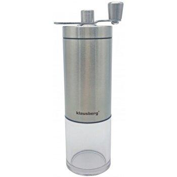 Rasnita pentru cafea Klausberg, mecanism ceramica, recipient plastic, maner rabatabil, KB-7248, Argintiu