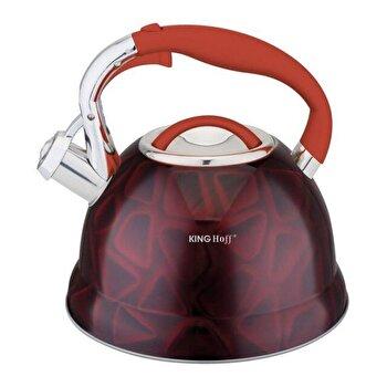 Ceainic cu fluier KingHoff, 3 litri, inductie, inox, KH-1063, Rosu de la KING Hoff