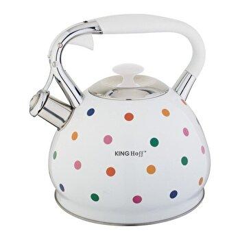 Ceainic cu fluier KingHoff, 2.7 litri, inductie, Thermo-Spot, inox, KH-1065, Alb/Multicolor de la KING Hoff