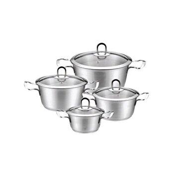 Set de oale din inox KingHoff, 8 piese, inductie, capac, KH-4475, Argintiu de la KING Hoff