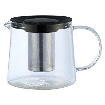 Ceainic din sticla cu sita din inox KingHoff, 1500 ml, KH-4845, Transparent/Negru