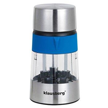 Rasnita 3 in 1 pentru sare, piper, condimente, Klausberg, KB-7020-BL, 3 compartimente, 75 x 138 mm, inox, Albastru de la Klausberg