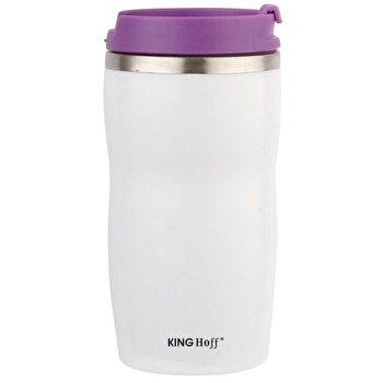 Cana termos cu pereti dubli inox, KingHoff, 380 ml, KH-1182-PR, Mov