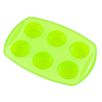 Forma din silicon pentru briose, KingHoff, 6 cupe, KH-4646-GR, Verde de la KING Hoff