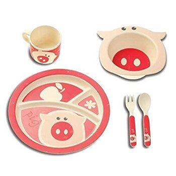 Set mic dejun pentru copii, Nava, 5 piese, fibre din bambus, seria Eco, 10-015-037, Roz