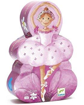 Puzzle silueta – Balerina cu flori, 36 piese de la Djeco