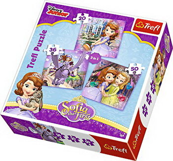 Puzzle 3 in 1 - Sofia cu prietenii, 106 piese