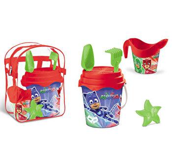 Set plaja Pj Masks Mondo pentru copii cu ghiozdanel, jucarii plaja si galetusa de la MONDO