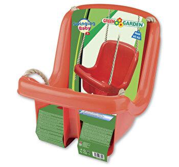 Leagan copii Androno, din plastic, cu spatar tip scaunel, rosu