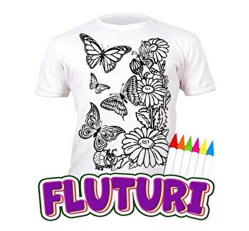 Tricou de colorat cu markere lavabile Fluturi 3-4 ani de la Splat Planet