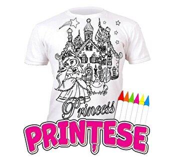 Tricou de colorat cu markere lavabile Printese 3-4 ani de la Splat Planet