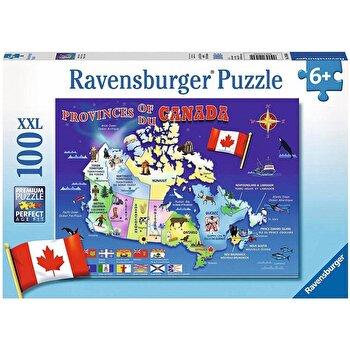 Puzzle Harta Canadei, 100 piese de la Ravensburger