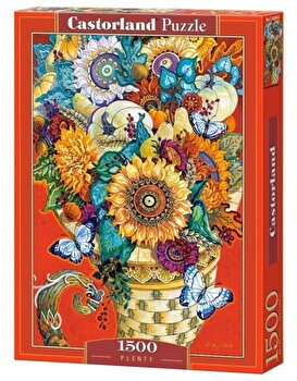 Puzzle Flori si fluturi, 1500 piese de la Castorland