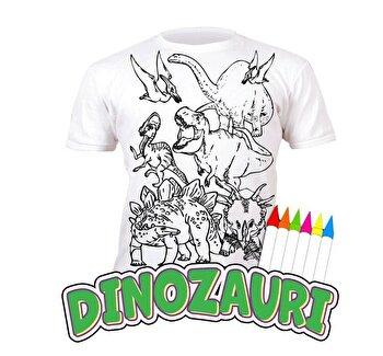 Tricou de colorat cu markere lavabile Dinozauri 5-6 ani de la Splat Planet
