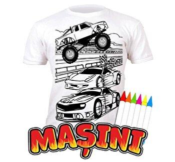 Tricou de colorat cu markere lavabile Masini 3-4 ani de la Splat Planet