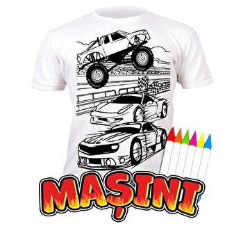 Tricou de colorat cu markere lavabile Masini 3-4 ani