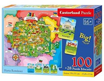 Puzzle educativ Harta Romaniei, 128 piese de la Castorland
