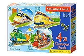 Puzzle 4 in 1 – Trenulete, 55 piese de la Castorland